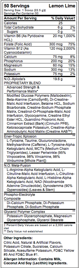 BSN NO-Xplode Nutritional Facts