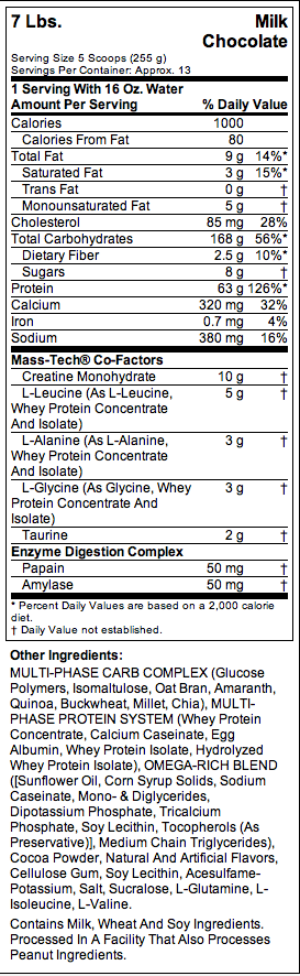 MuscleTech Mass Tech Nutritional Facts