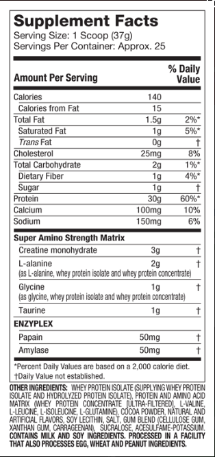Nitrotech Nutritional Facts
