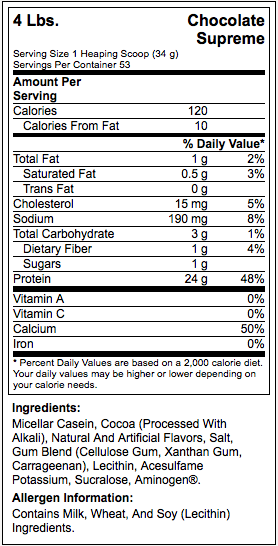ON 100 Casein 4lbs Nutritional Facts