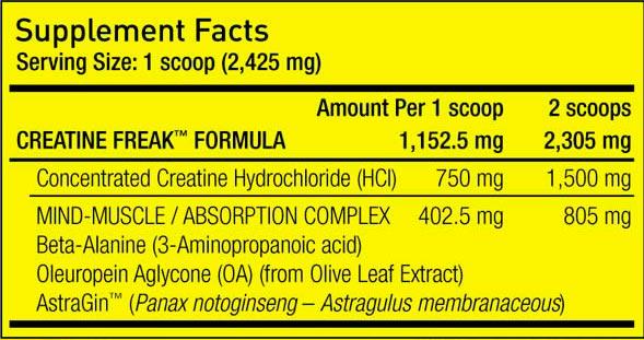 Pharmafreak Creatine Freak Powder Nutritional Facts